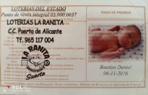 Sello Lotería conmemorativo Bautizo